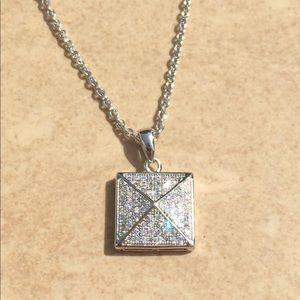 Rhodium Plated Square Pave CZ Pyramid Pendant